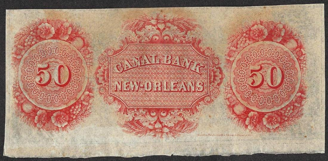 1800's $50 Canal Bank New Orleans Obsolete Note - 2