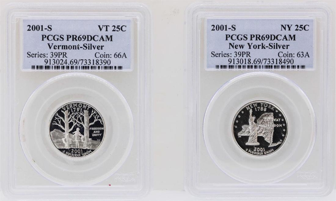 Lot of (2) 2001-S State Quarter Silver Coins PCGS