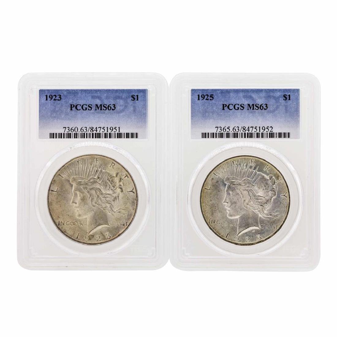Lot of 1923 & 1925 $1 Peace Silver Dollar Coins PCGS