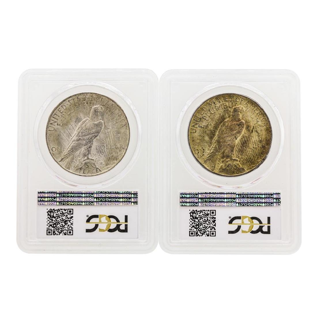 Lot of 1923 & 1925 $1 Peace Silver Dollar Coins PCGS - 2