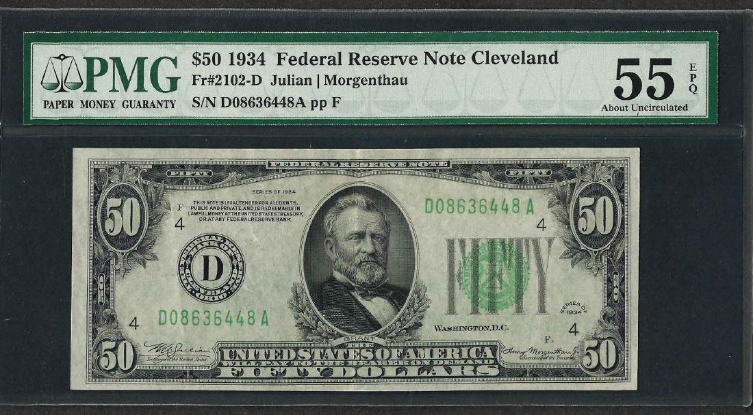 1934 $50 Federal Reserve Note Cleveland Fr.2102-D PMG