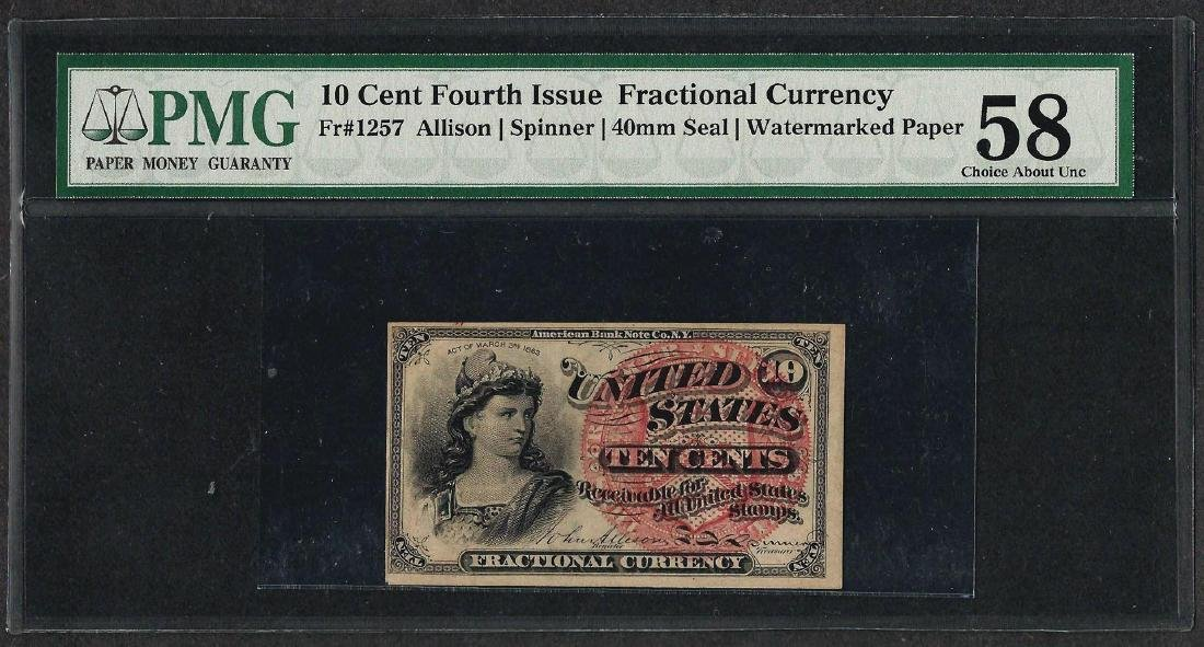 1863 Fourth Issue 10 Cent Fractional Currency Note PMG