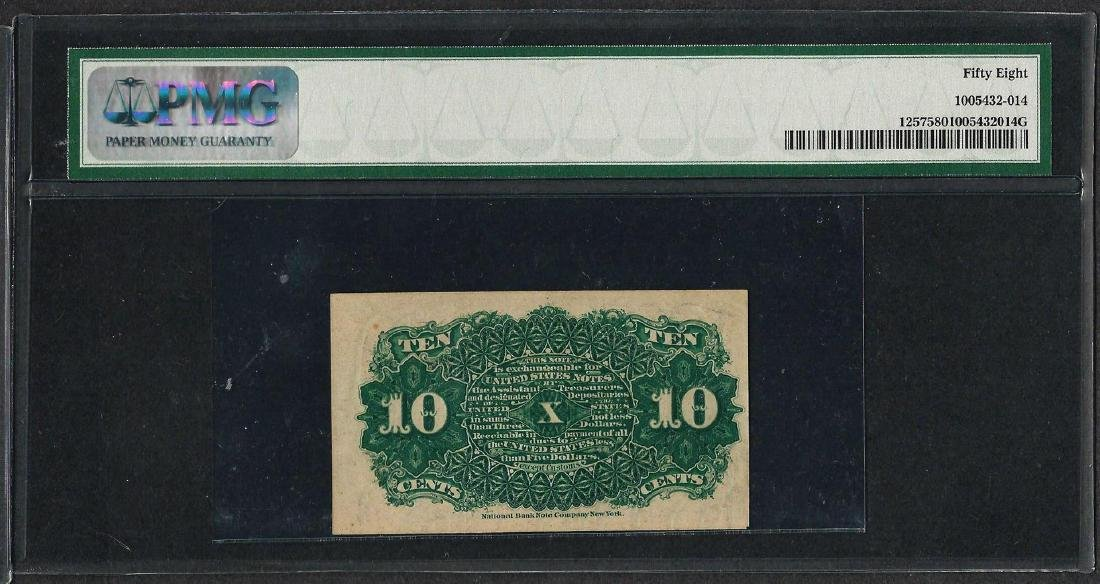 1863 Fourth Issue 10 Cent Fractional Currency Note PMG - 2