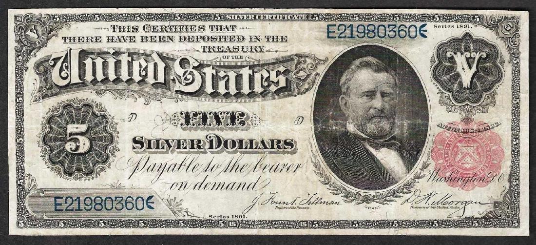 1891 $5 Silver Certificate Note