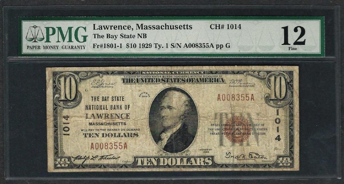 1929 $10 National Currency Note Lawrence, Massachusetts