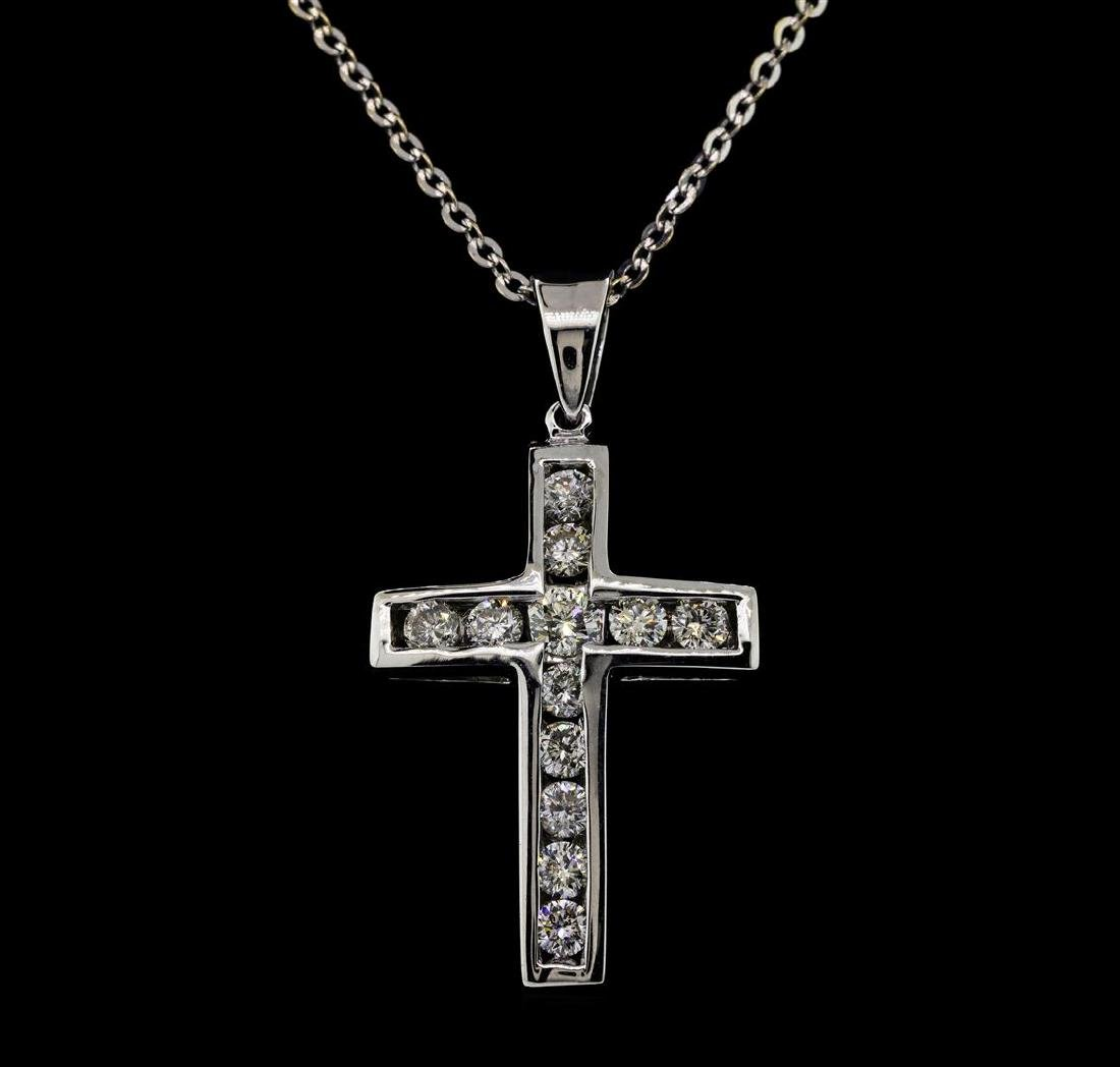 14KT White Gold 1.05 ctw. Diamond Cross Pendant with - 2
