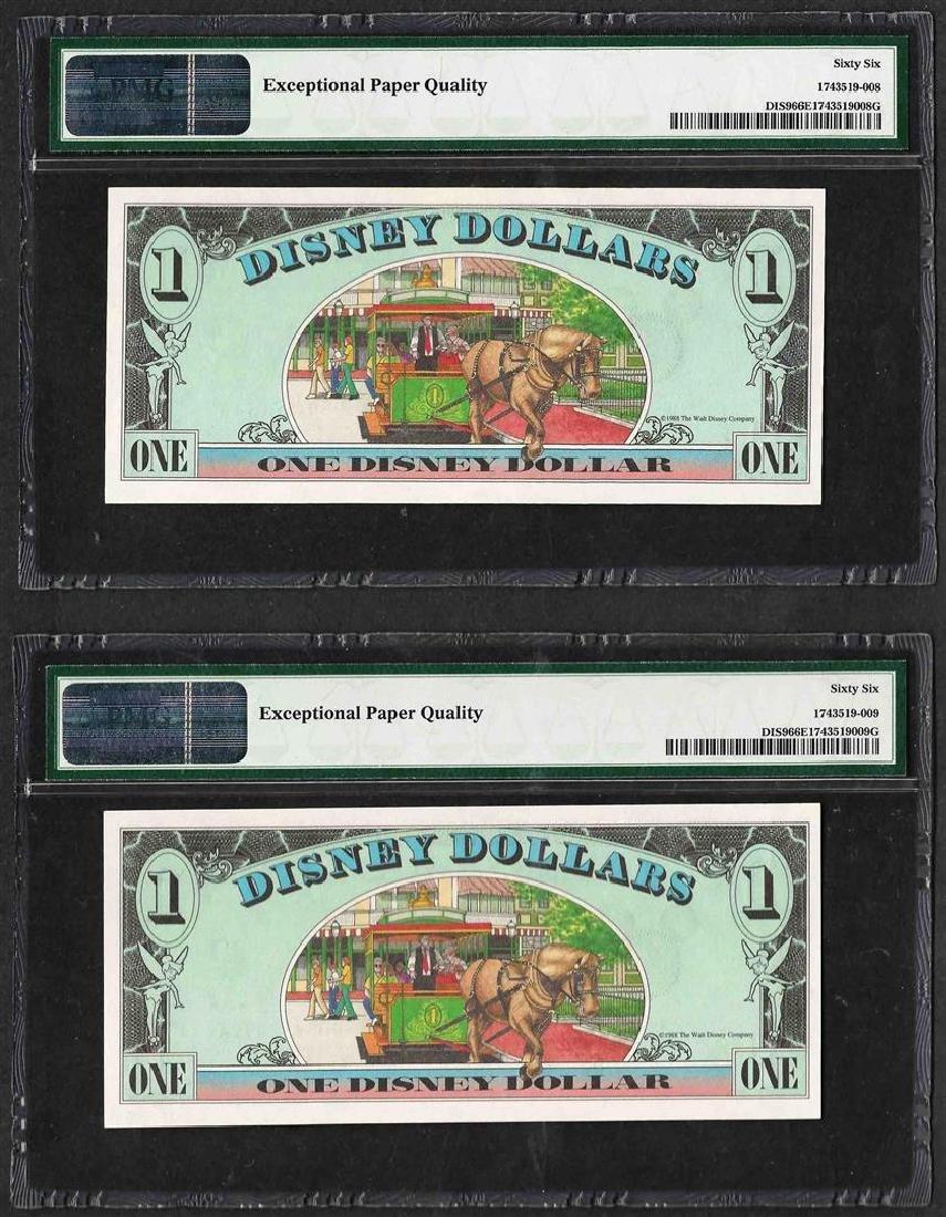 Lot of (2) Consecutive 1988 $1 Disney Dollars Notes PMG - 2