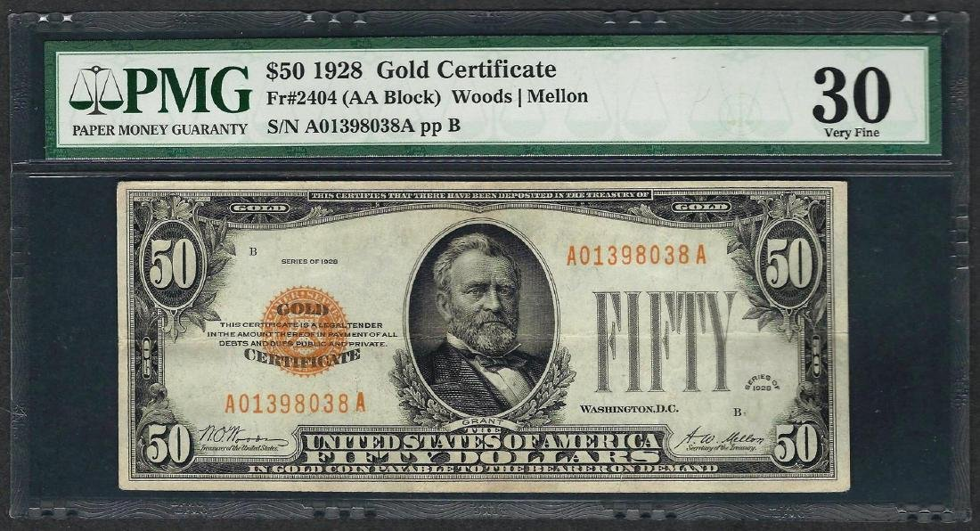 1928 $50 Gold Certificate Note Fr.2404 PMG Very Fine 30