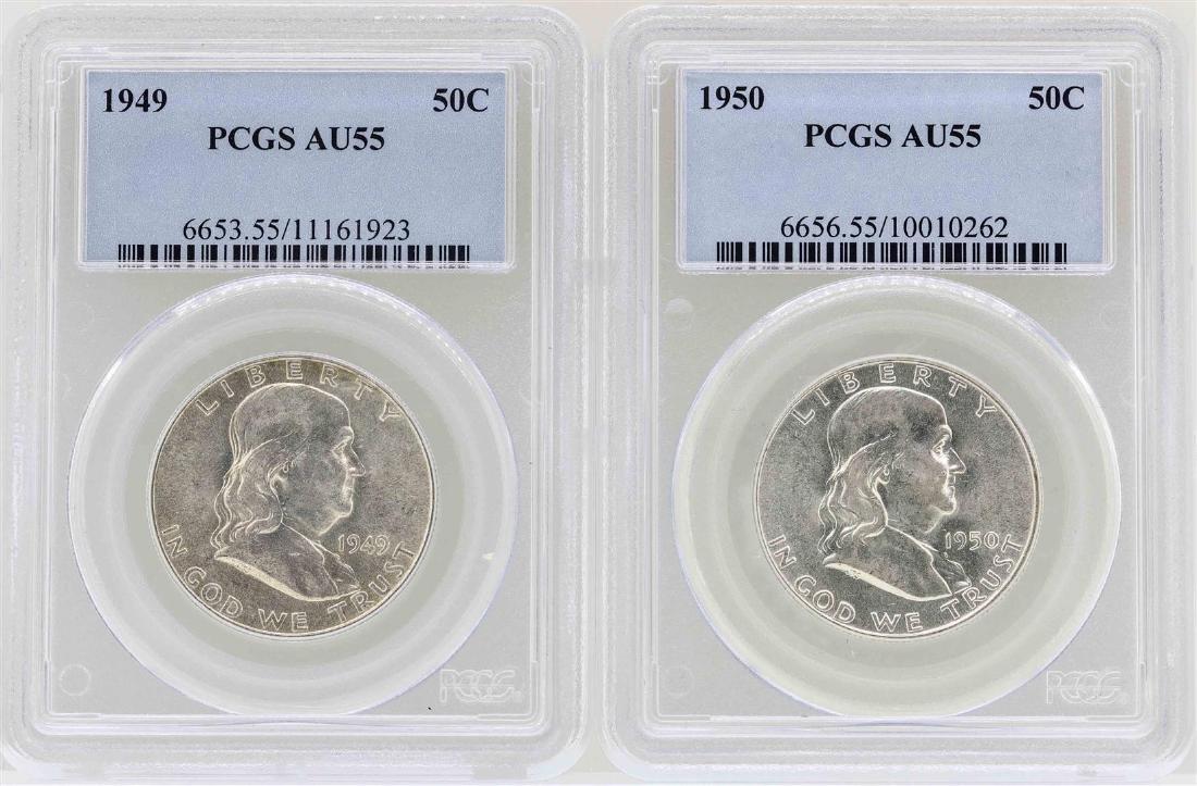 Set of 1949-1950 Franklin Half Dollar Coins NGC AU55