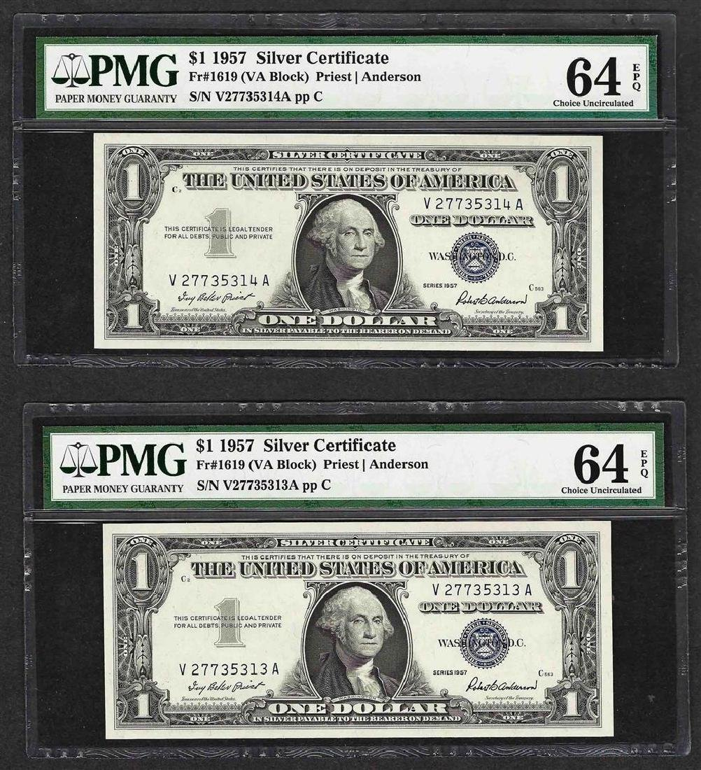 Lot of (2) Consecutive 1957 $1 Silver Certificate Notes