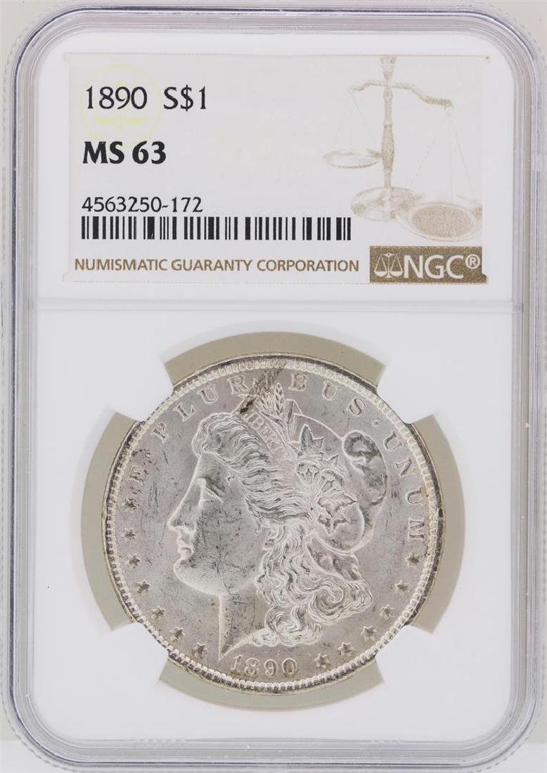1890 $1 Morgan Silver Dollar Coin NGC MS63
