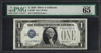 1928 1 Funnyback Silver Certificate Note Fr1600 PMG