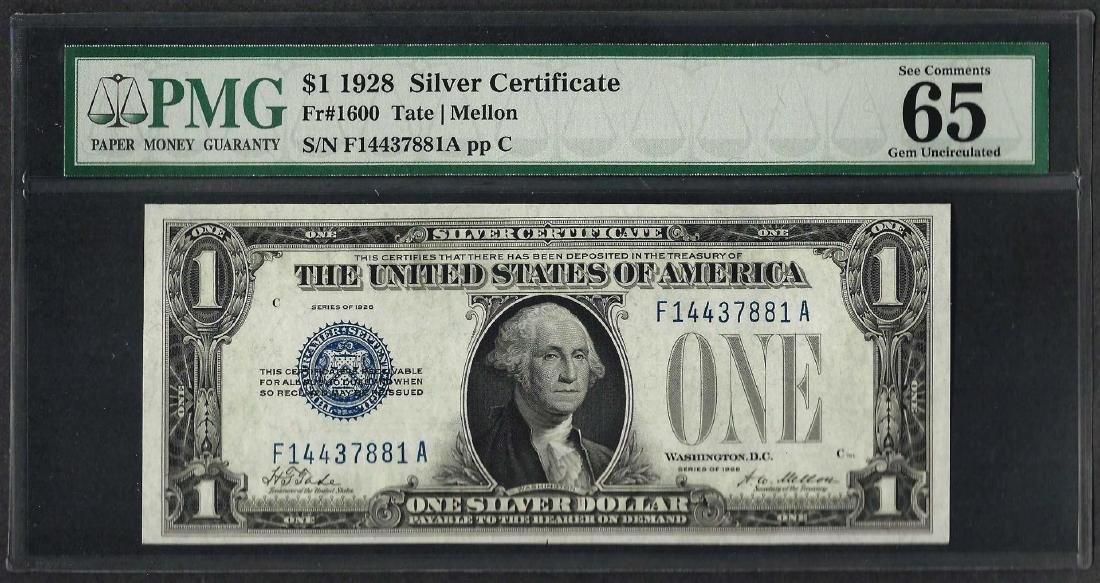 1928 $1 Funnyback Silver Certificate Note Fr.1600 PMG