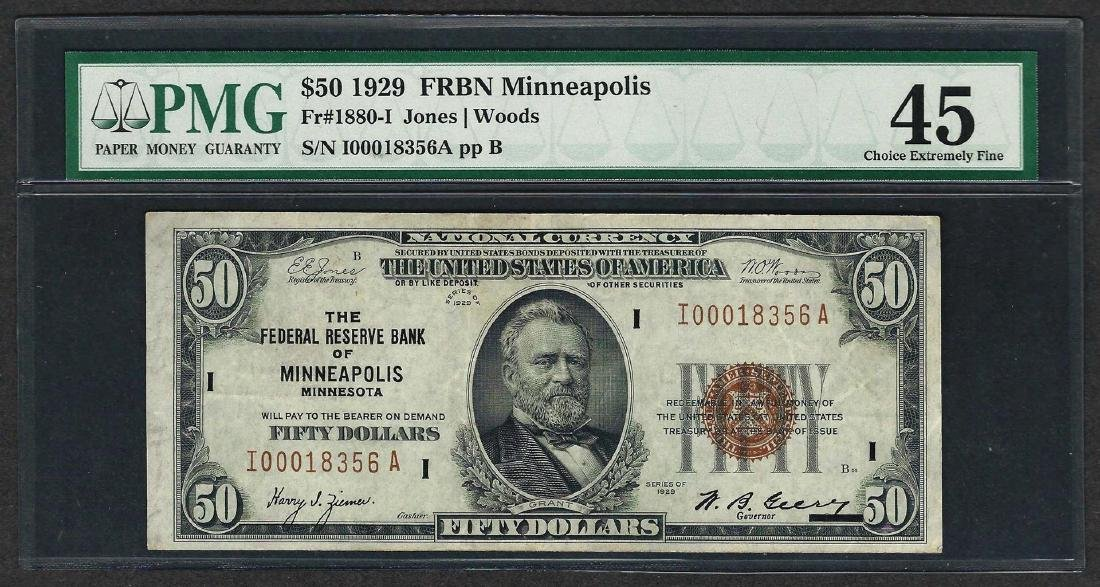 1929 $50 Federal Bank of Minneapolis Note Fr.1880-I PMG