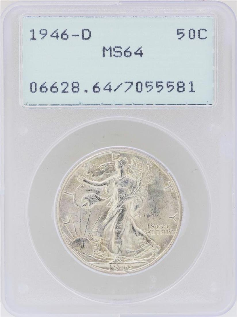 1946-D Walking Liberty Half Dollar Coin PCGS MS64 Green