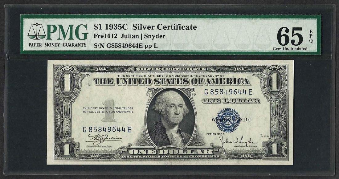 1935C $1 Silver Certificate Note Fr.1612 PMG Gem