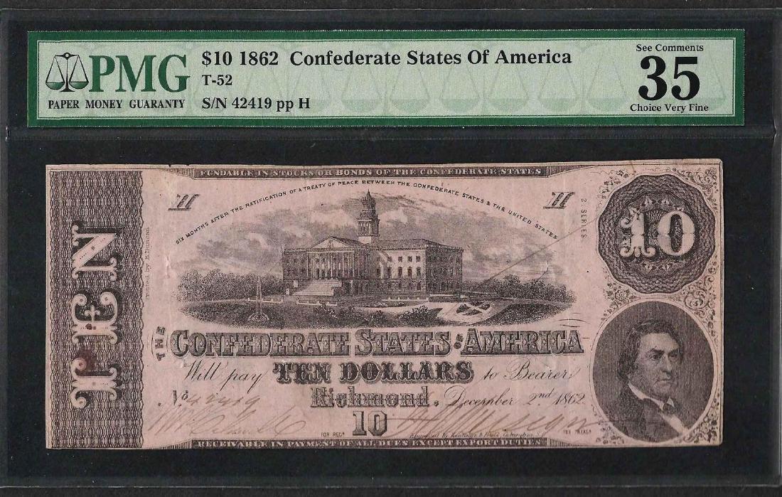 1862 $10 Confederate States of America Note T-52 PMG