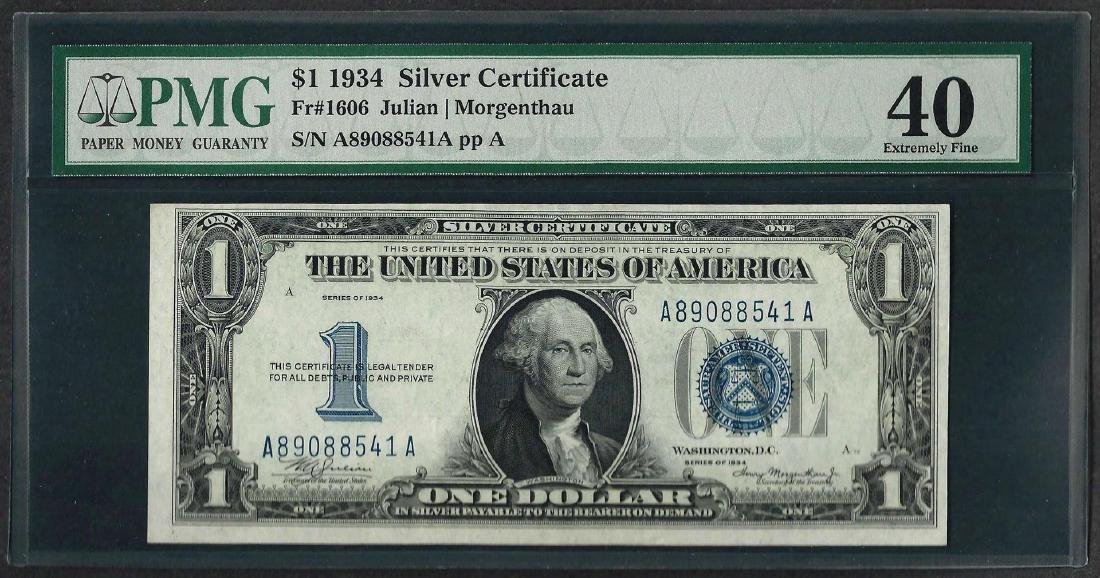 1934 $1 Funnyback Silver Certificate Note Fr.1606 PMG