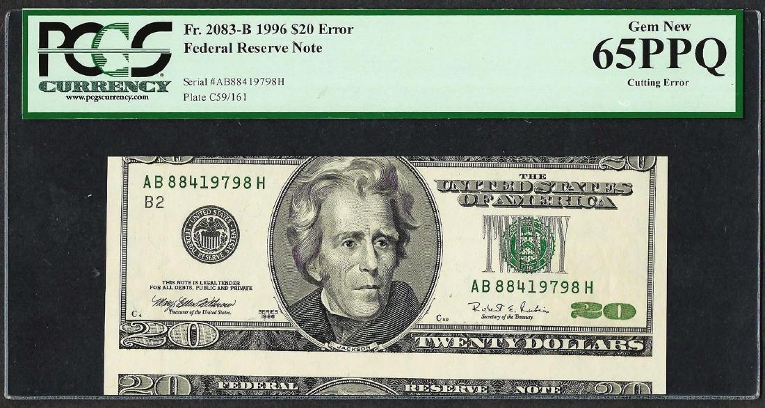 1996 $20 Federal Reserve Note Cutting ERROR PCGS Gem