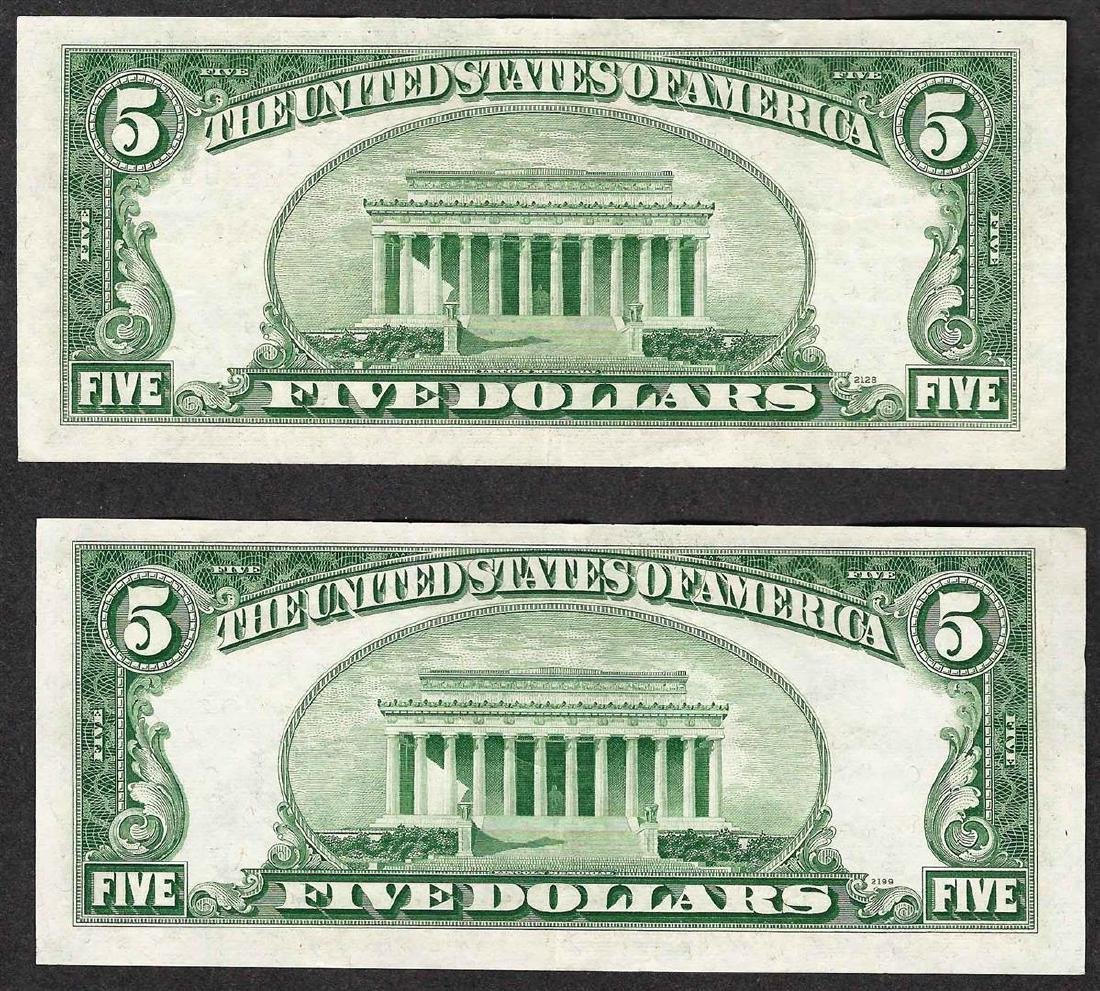 Lot of (2) 1953 $5 Silver Certificate Notes - 2