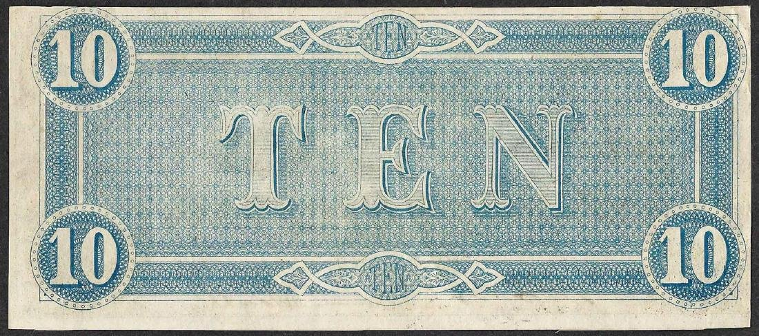 1864 $10 Confederate States of America Note - 2