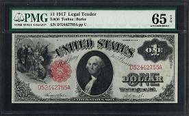 1917 $1 Legal Tender Note Fr.36 PMG Gem Uncirculated