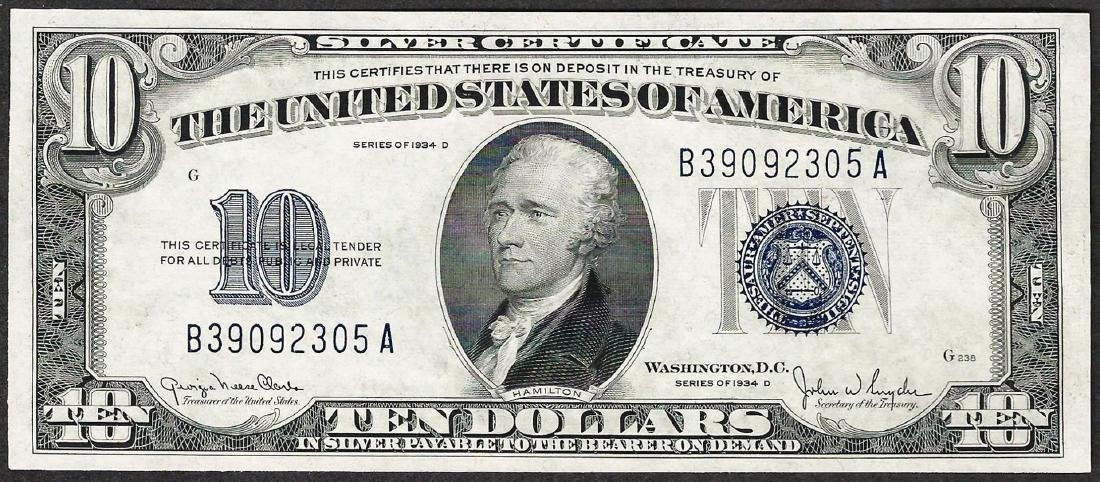 1934D $10 Silver Certificate Note
