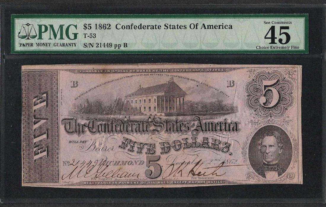 1862 $5 Confederate State of America Note T-53 PMG