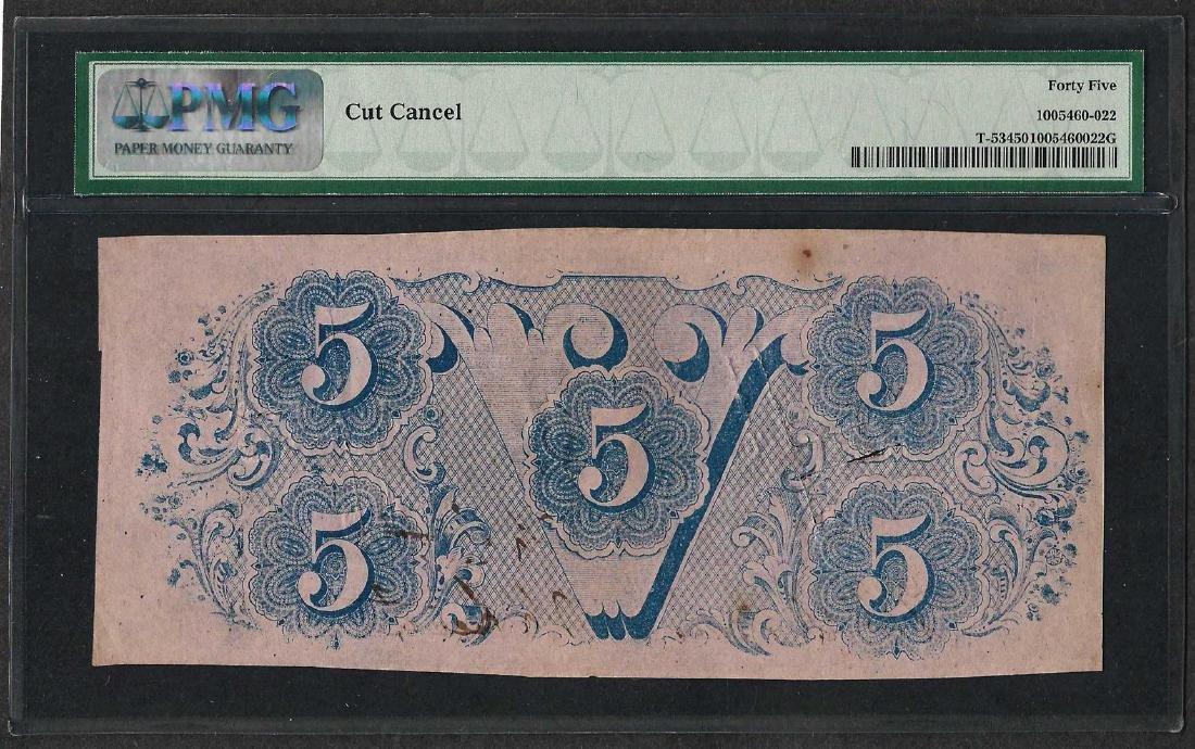 1862 $5 Confederate State of America Note T-53 PMG - 2