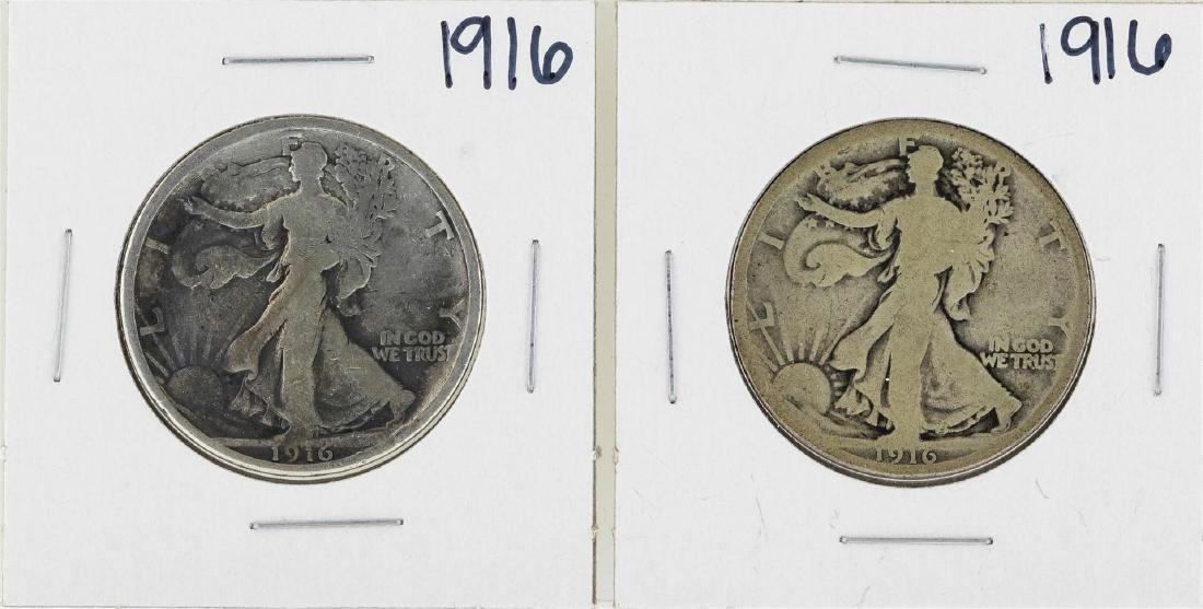 Lot of (2) 1916 Walking Liberty Half Dollar Silver