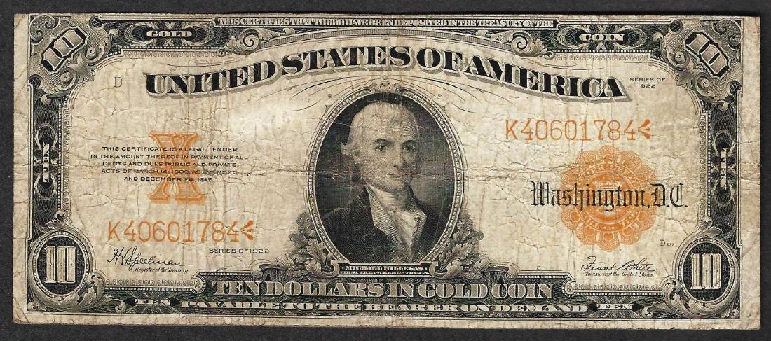 1922 $10 Gold Certificate Note