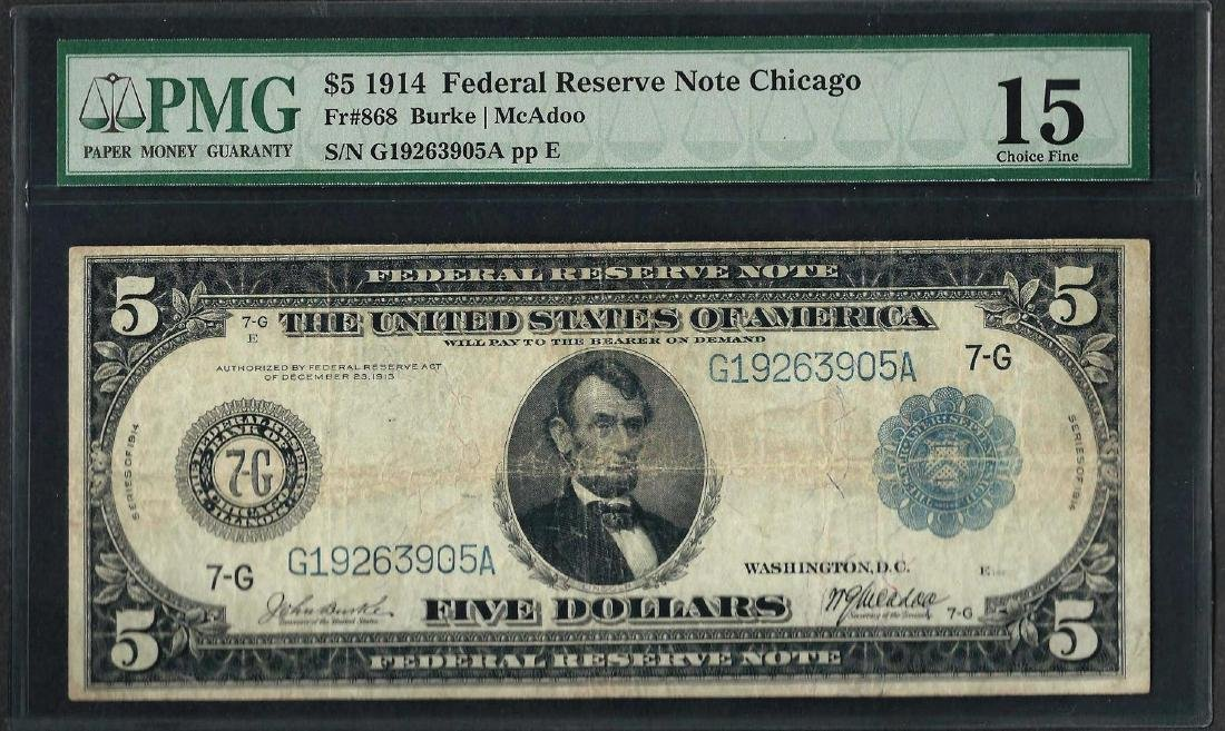 1914 $5 Federal Reserve Note Chicago Fr.868 PMG Choice
