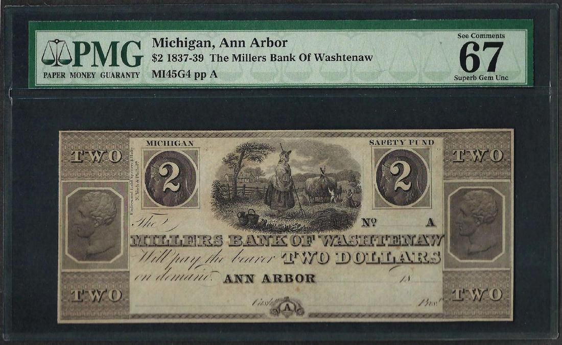 1837-39 $2 Millers Bank of Washtenaw Obsolete Note PMG