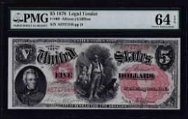 1878 5 Woodchopper Legal Tender Note Fr69 PMG Choice