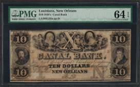 1840s 10 Canal Bank New Orleans Obsolete Note PMG