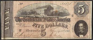1864 5 Confederate States of America Note