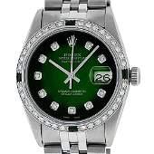 Rolex Mens Stainless Steel 36mm Green Vignette Diamond