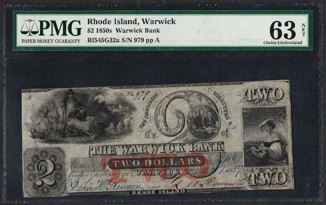 1850's $2 Warwick Bank Rhode Island Obsolete Note PMG