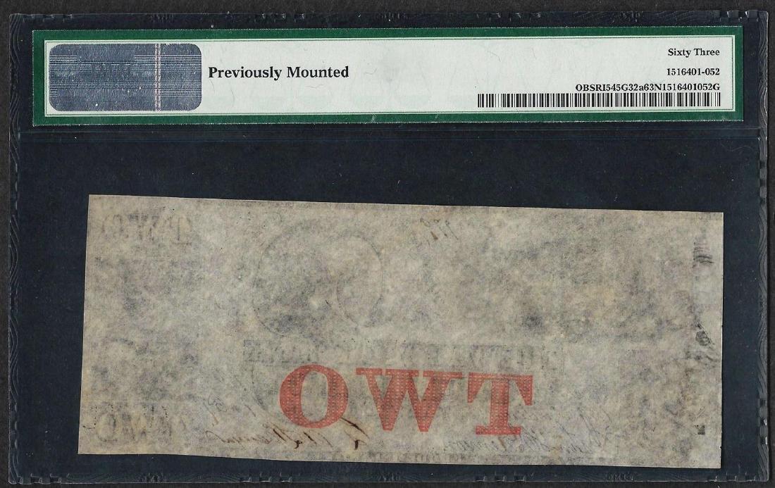 1850's $2 Warwick Bank Rhode Island Obsolete Note PMG - 2