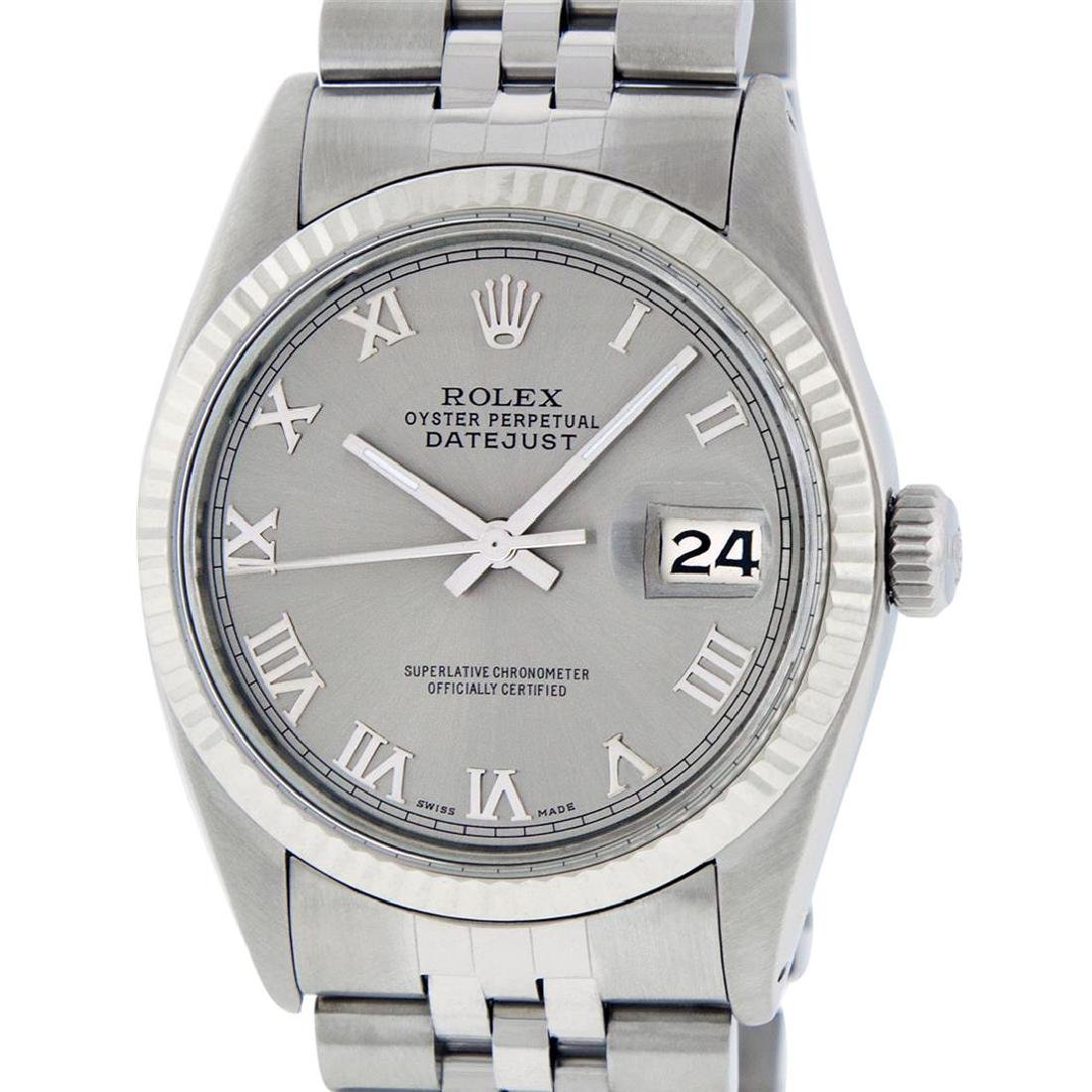 Rolex Men's Stainless Steel 36MM Slate Grey Roman
