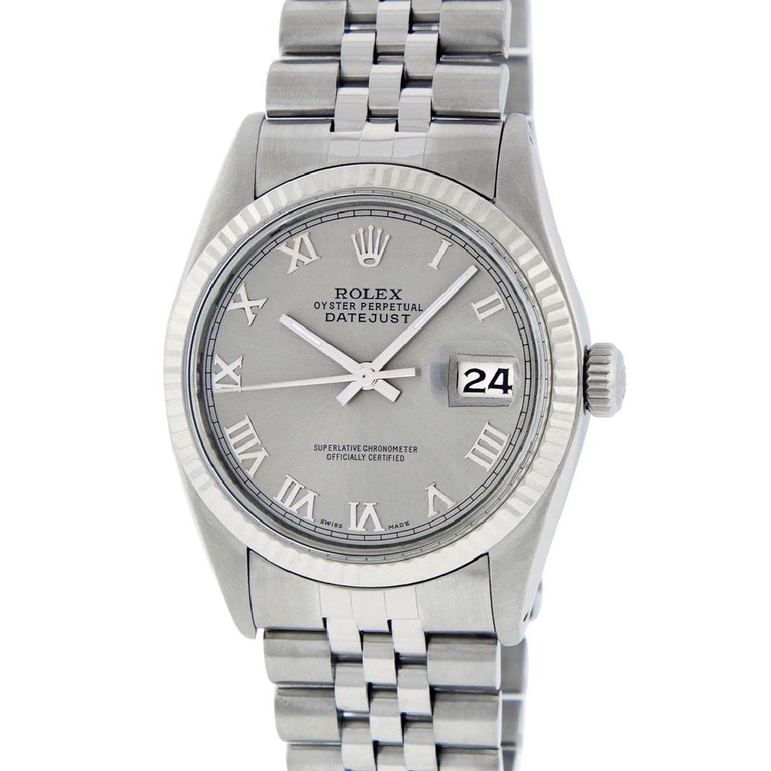 Rolex Men's Stainless Steel 36MM Slate Grey Roman - 2