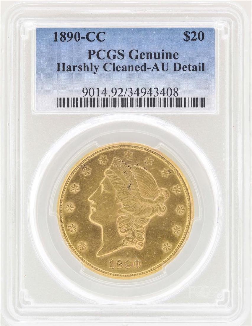 1890-CC $20 Liberty Head Double Eagle Gold Coin PCGS AU