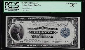 1918 1 Federal Reserve Bank Note Atlanta Fr725 PCGS
