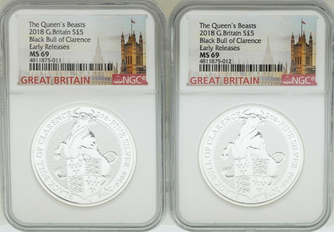 Lot of (2) 2018 Great Britain 5 Pound Queen's Beasts