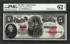 1907 5 Woodchopper Legal Tender Note Fr92 PCBLIC