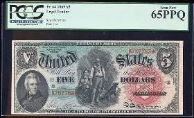 1869 5 Rainbow Woodchopper Legal Tender Note Fr64