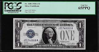 1928A 1 Funnyback Silver Certificate Note Fr1601 PCGS