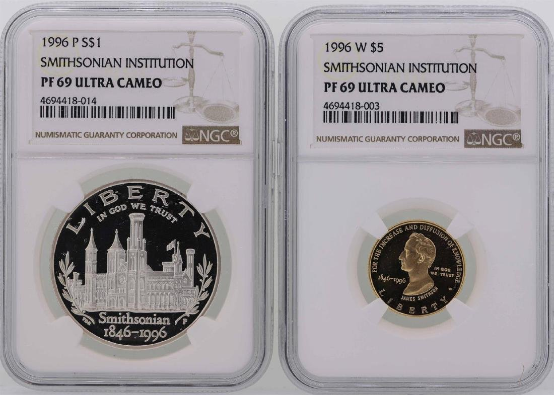 1996-P $1 Silver Coin & 1996-W $5 Gold Coin Smithsonian
