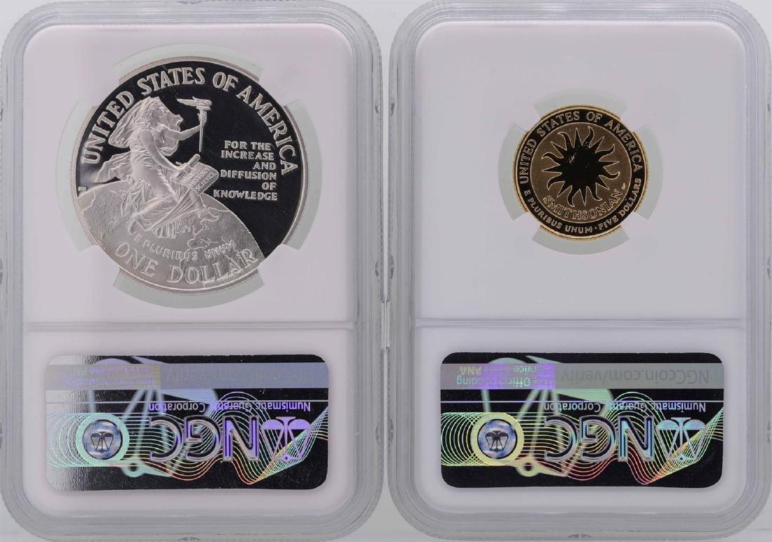 1996-P $1 Silver Coin & 1996-W $5 Gold Coin Smithsonian - 2