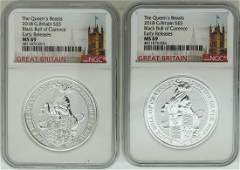 Lot of 2 2018 Great Britain 5 Pound Queens Beasts